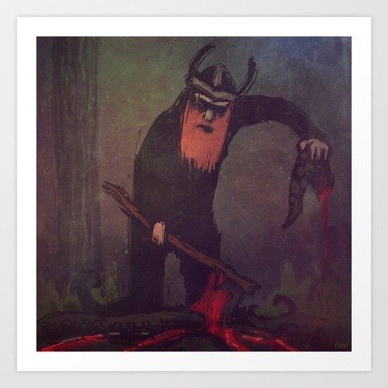 Viking preparing a meal Art Print