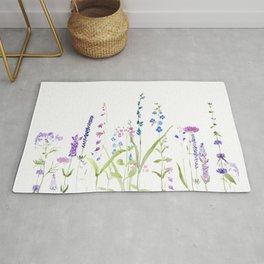 purple blue wild flowers watercolor painting Rug