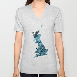 Great Britain Map Print Abstract in Camouflage Marine - A great talking piece for the home! Unisex V-Neck