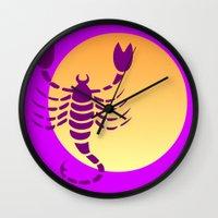 scorpio Wall Clocks featuring Scorpio by Geni