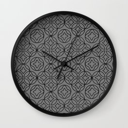 Ancient Pattern Illustration in Steel Gray Wall Clock