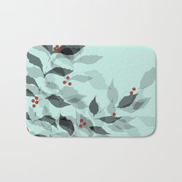 Leaves with Christmas Berries Bath Mat
