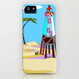 A Lighthouse on the Lazy, Sunny Beach with Palm Trees iPhone Case