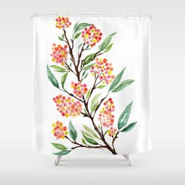 Watercolour Firethorn Branch with Berries Shower Curtain