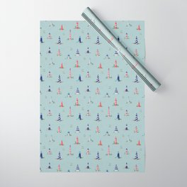 Nautical Lighthouses Coastal Print Wrapping Paper