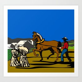 farmer and horse plowing field Art Print
