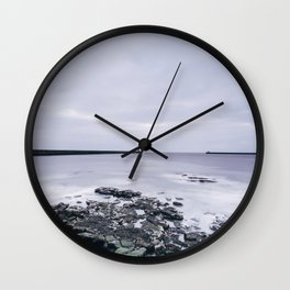 North and South Pier Lighthouse at dawn. Tynemouth, Northumberland, UK. Wall Clock