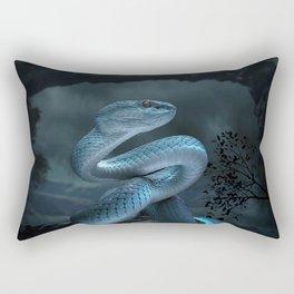 Blue Viper Snake Digital Art Rectangular Pillow