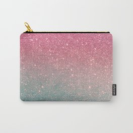 Modern neon pink teal faux glitter ombre patern Carry-All Pouch