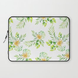 Watercolor yellow green hand painted camellia pattern Laptop Sleeve