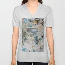 signal lake - mixed media collage in teal, pink, cream, white, and black by Unisex V-Neck
