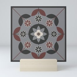 Floral Motif (Sable Brown, Sharkskin Grey, Cream, DarkCharcoal) Mini Art Print