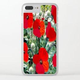 Surreal Poppy Garden Clear iPhone Case