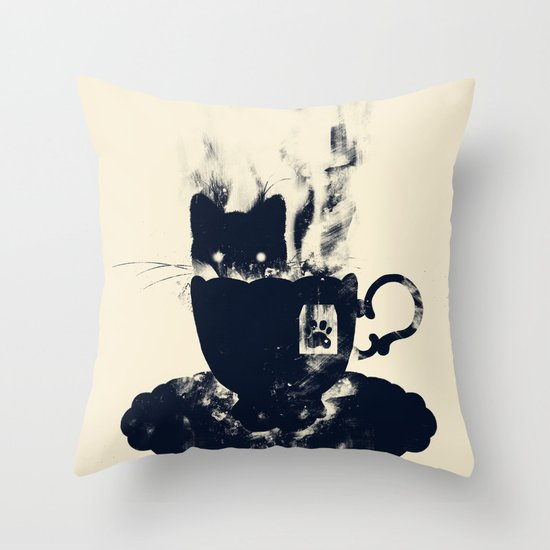 Having Tea With my Lovely Cat Throw Pillow