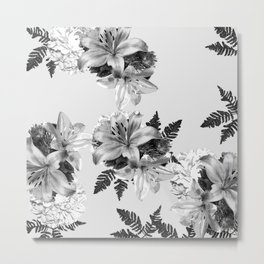 LILY SILVER GRAY WITH HYDRANGEAS AND FERNS Metal Print