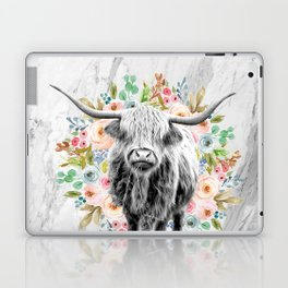 Highland Cow With Flowers on Marble Black and White Laptop & iPad Skin