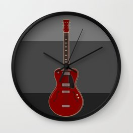 Red semi-electric guitar against a block striped gray background | Vector digital art Wall Clock