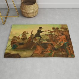 1857 Rhode Island Classical Masterpiece 'The Landing of Roger Williams' by Alonzo Chappel Rug