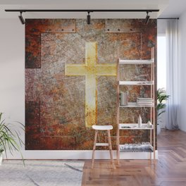 Gold Cross on Rusted Metal Plate Wall Mural