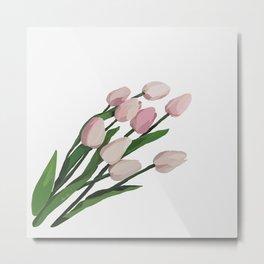 Tulips' Blushing Beauty Metal Print
