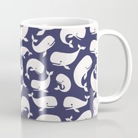 moby dick Mugs featuring Moby Dick - Navy by Drivis
