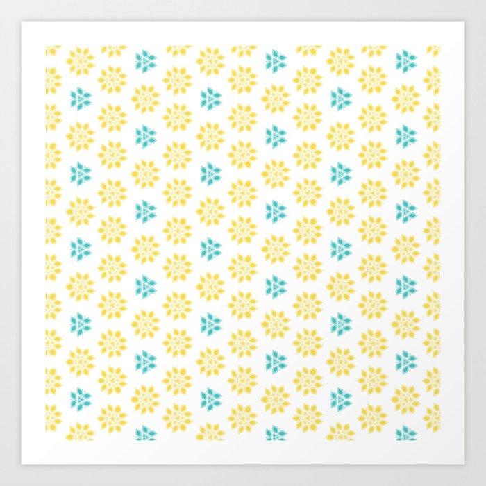 Spring Yellow Blue Flower Pattern Art Print