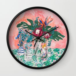 Cockatoo Vase - Bouquet of Flowers on Coral and Jungle Wall Clock