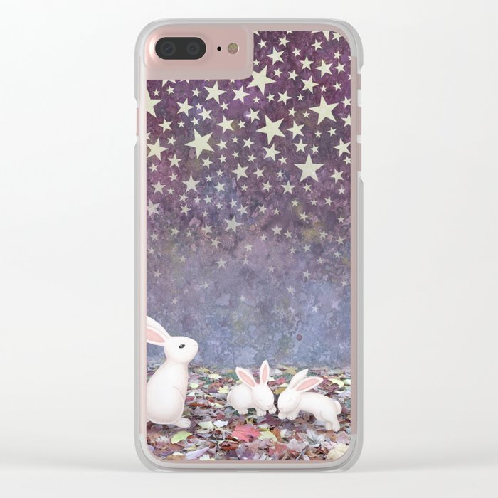 bunnies under the stars Clear iPhone Case