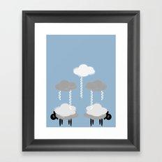 Wooly weather - Sheep Rain Clouds Framed Art Print