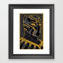 The King Of Wakanda - Panther Pattern Framed Art Print