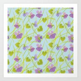 Spring Time. Forest Violets. Art Print