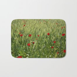 Red Poppies Growing In A Corn Field  Bath Mat