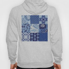 Blue and White Patchwork Squares Hoody