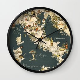 Gastronomic Map of Italy 1949 Wall Clock