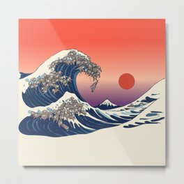 The Great Wave of Sloth Metal Print