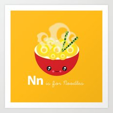 N is for Noodles Art Print