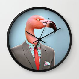 Pink Flamingo's Wall Clock