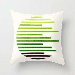 Mid Century Modern Minimalist Circle Round Photo Sap Green Staggered Stripe Pattern Throw Pillow