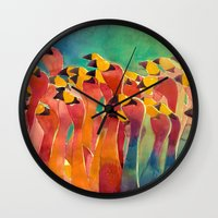 flamingos Wall Clocks featuring Flamingos by takmaj