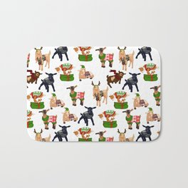 Christmas goats in sweaters repeating seamless pattern Bath Mat