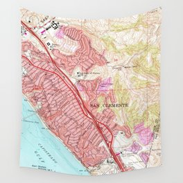 Vintage Map of San Clemente California (1968) Wall Tapestry