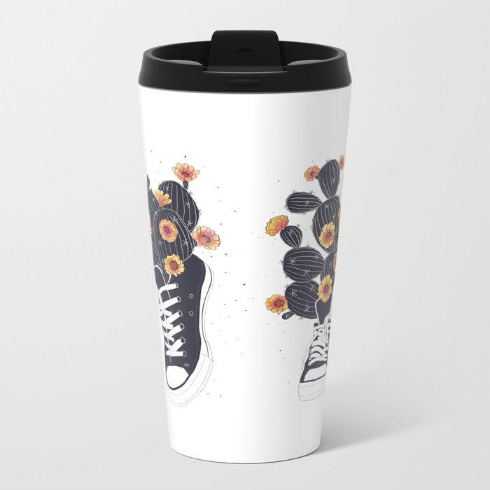 Sneakers with cactus Metal Travel Mug