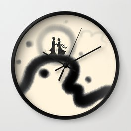 Chinese Valentine's Day ink painting Wall Clock