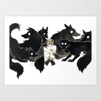 Dean and the wolves Art Print