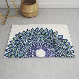 Peacock Mandala – Navy & Gold Rug