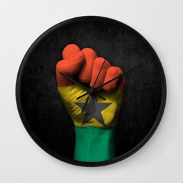 Ghana Flag on a Raised Clenched Fist Wall Clock
