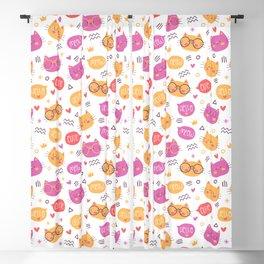 Cute Hand Drawn Cat Pattern Blackout Curtain