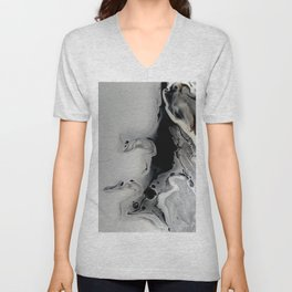 Black and Silver Fluid Macro Close-up Painting Unisex V-Neck