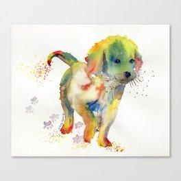 Colorful Puppy - Little Friend Canvas Print