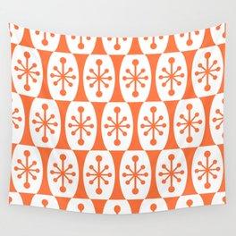 Mid Century Modern Atomic Fusion Pattern Orange Wall Tapestry
